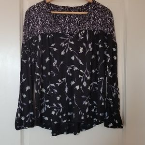 Lucky Brand Black and Purple Floral Blouse